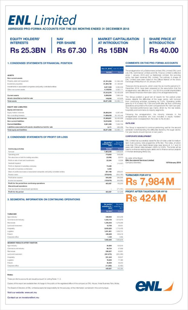 Read the ENL Land Limited HY2019 Interim Report