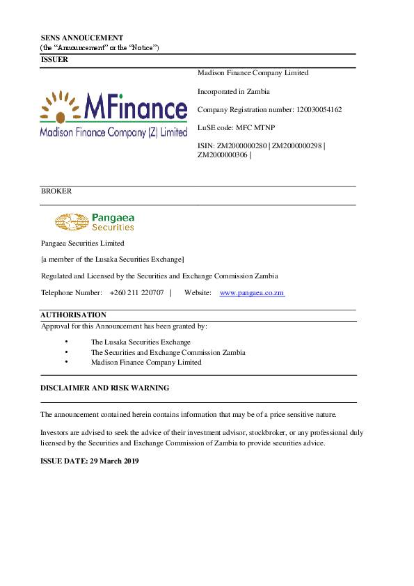 Madison Financial Zambia Records 1065 Rise In P A T To K21 537m For Full Year 2018 Africanfinancials