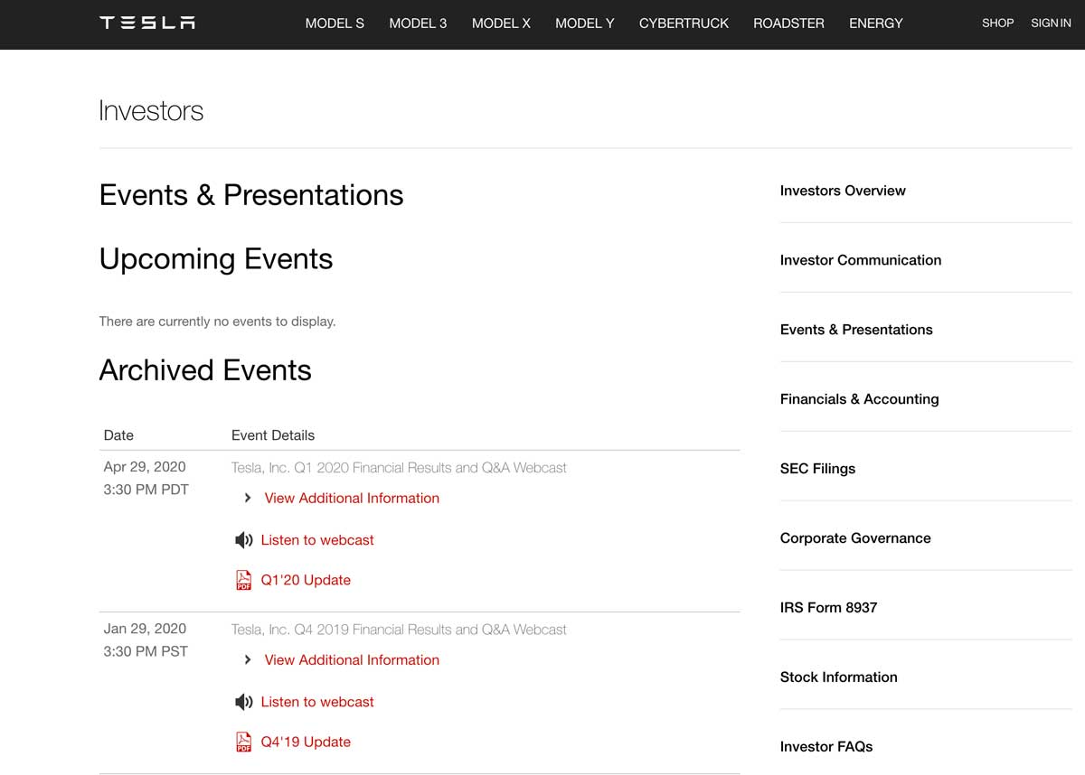 Tesla Investor Relations website