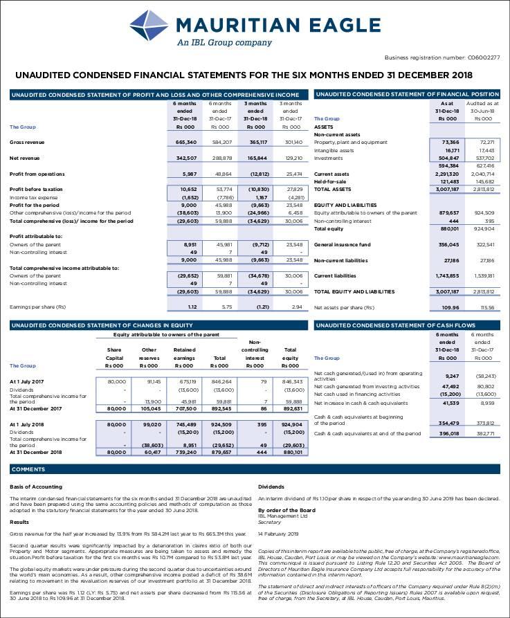 Mauritian Eagle Insurance Co Limited Mei Mu Hy2019 Interim Report Africanfinancials