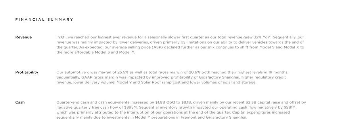 Tesla Q1 presentation - financial summary
