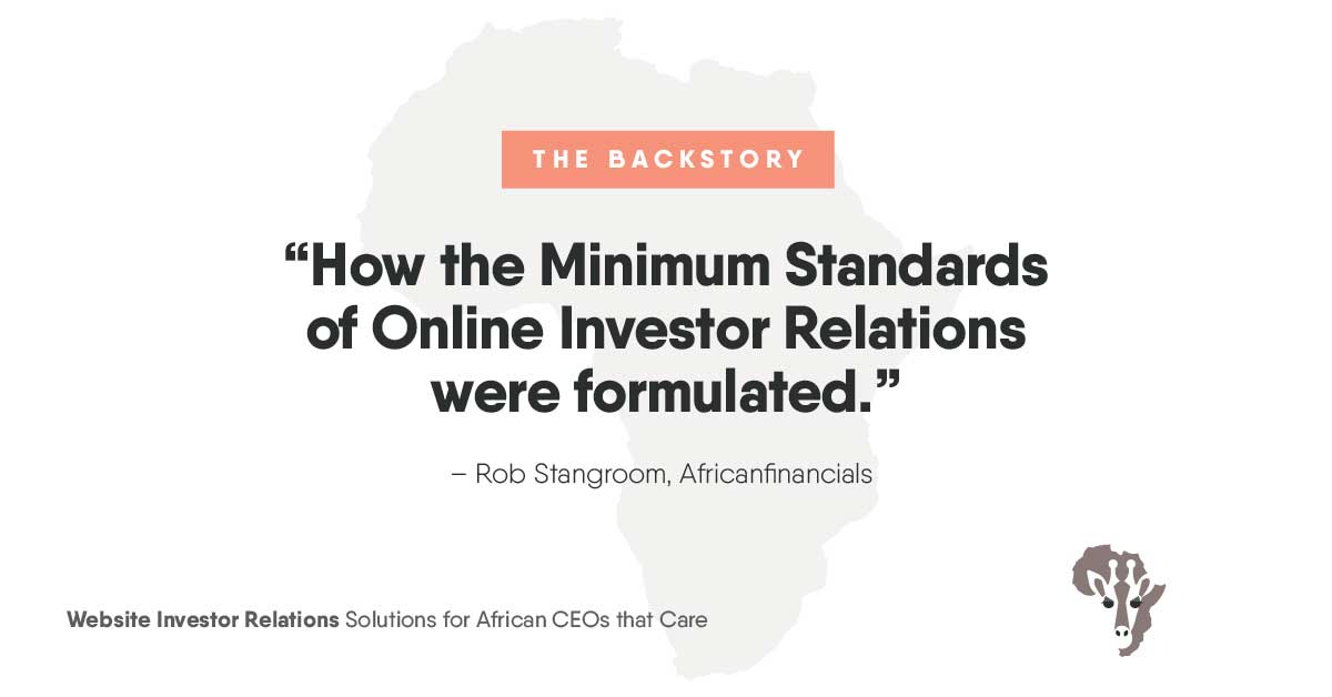 How the Minimum Standards of Online Investor Relations was formulated