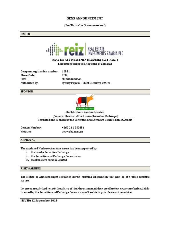 Real Estate Investments Zambia PLC (REIZ.zm) HY2019 Interim Report