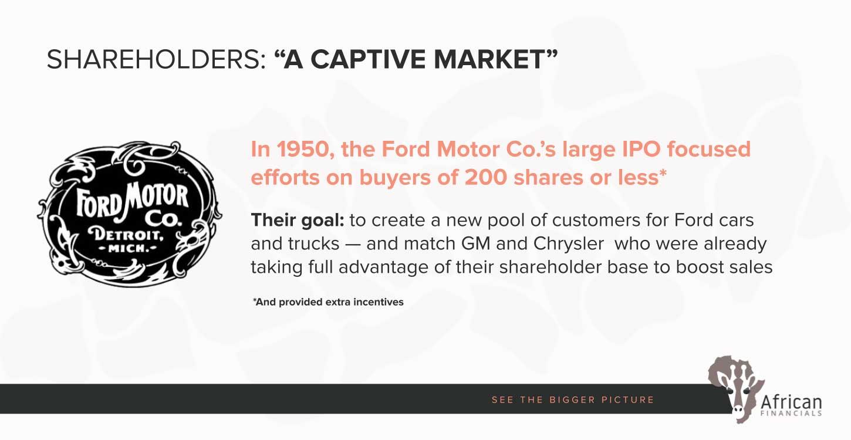 shareholders, a captive market