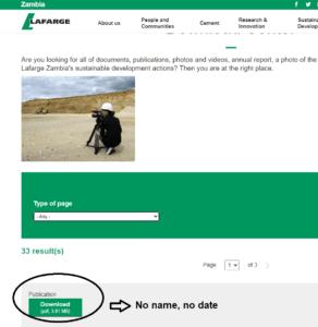 Lafarge Zambia downloads section