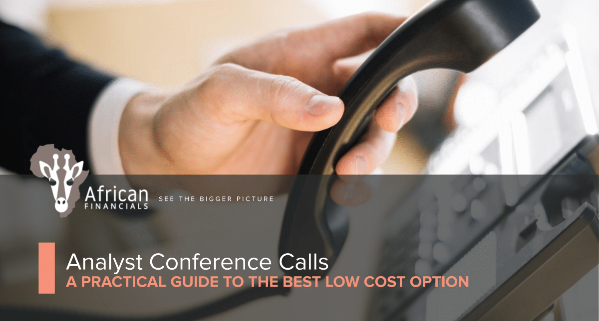 A practical guide to low cost, Analyst Conference Calls