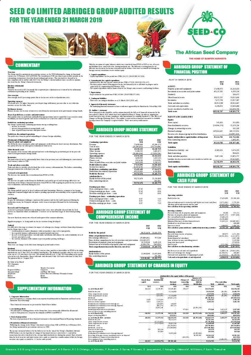 Seed Co Limited (SEED.zw) 2019 Abridged Report