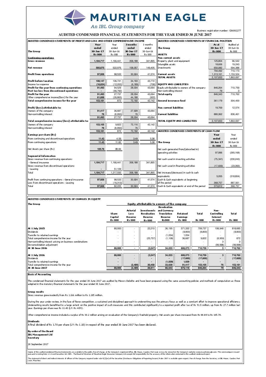 Mauritian Eagle Insurance Co Limited Mei Mu 2017 Abridged Report Africanfinancials