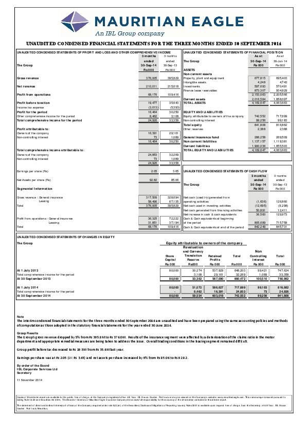 Mauritian Eagle Insurance Co Limited Mei Mu Q12015 Interim Report Africanfinancials