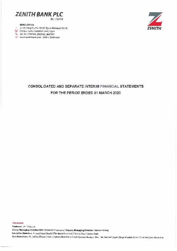 Zenith Bank Plc Zenith Ng Q12020 Interim Report Africanfinancials