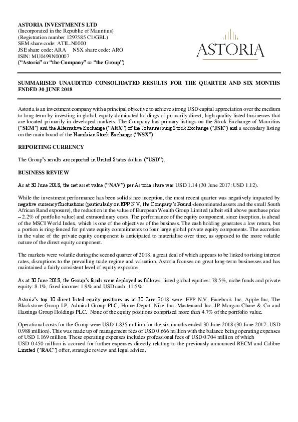 Astoria Investments Limited (ATIL mu) HY2018 Interim Report