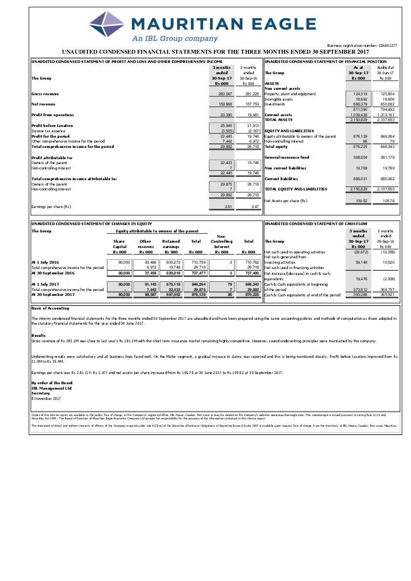 Mauritian Eagle Insurance Co Limited Mei Mu Q12017 Interim Report Africanfinancials