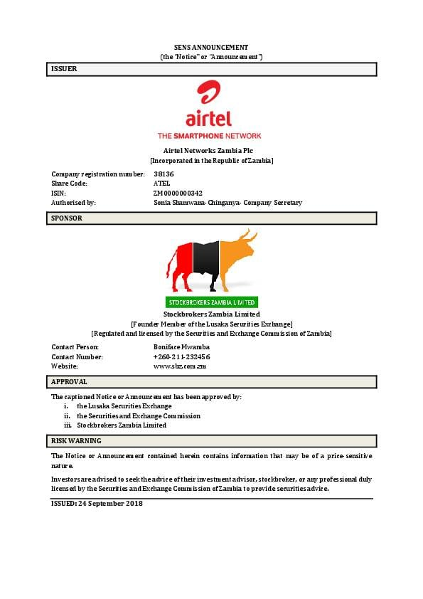 Airtel Networks Zambia Plc (ATEL zm) HY2018 Interim Report